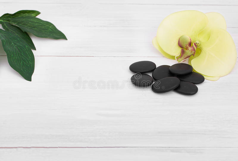 Beautiful composition of spa treatment on wooden table.  royalty free stock image