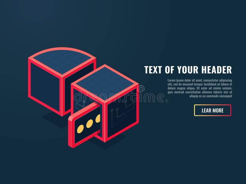Beautiful concept of searching data, request and response of the server, entering and outgoing message isometric vector vector illustration