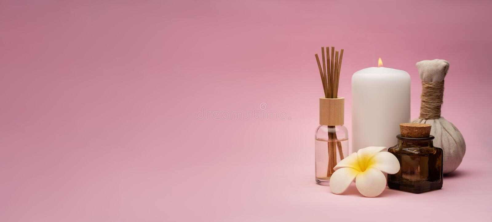 Beautiful and concise spa composition on pink background. royalty free stock photography