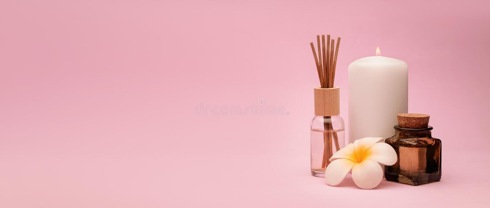 Beautiful and concise spa composition on pink background. royalty free stock photos