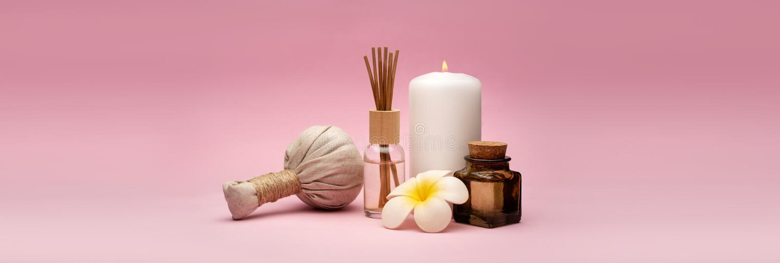 Beautiful and concise spa composition on pink background. stock image