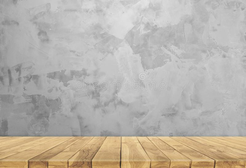 Concrete wall and wooden base. Beautiful Concrete wall and wooden base. Gray wall royalty free stock image