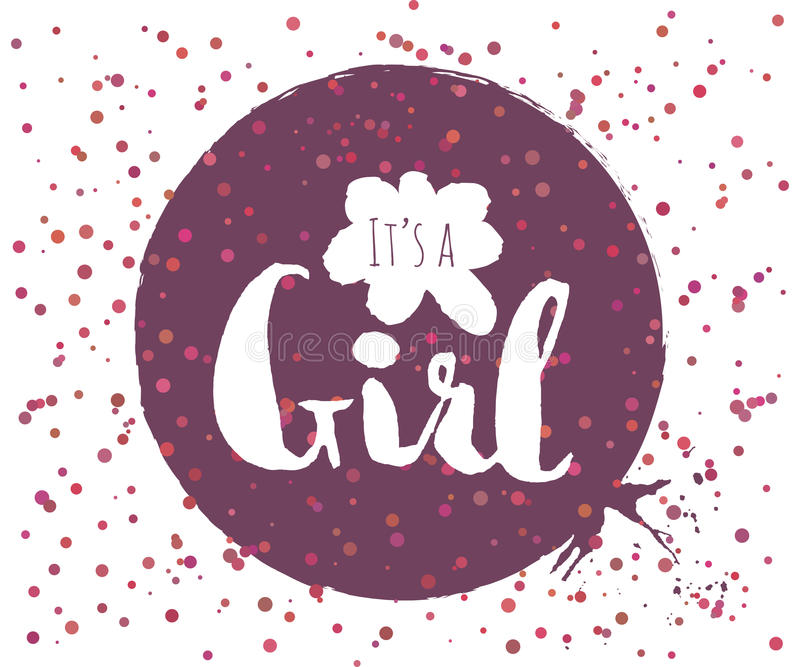 Beautiful confetti poster with quotes lettering its a girl. Vector stock illustration
