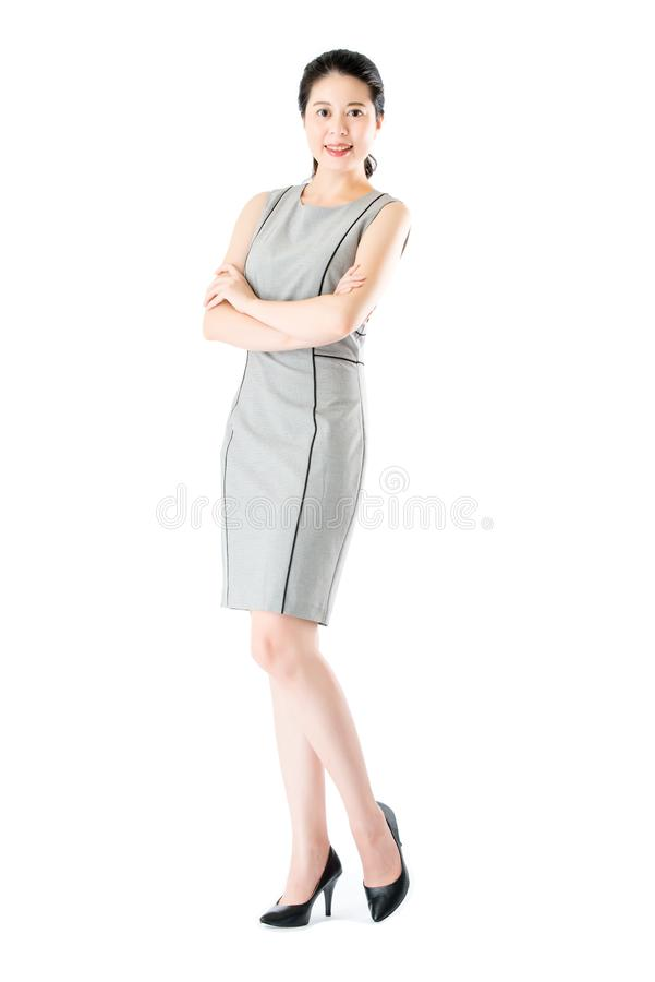 Beautiful confident asian business woman cross arm standing royalty free stock photos