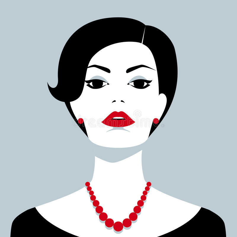 Beautiful confident woman with red bead. Vector portrait of beautiful confident woman with red bead royalty free illustration