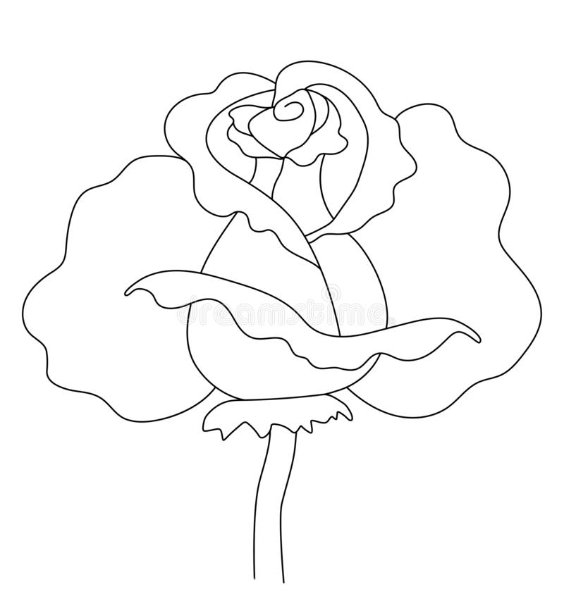 Beautiful contour rose. Suitable for logo, cards, illustrations and more stock illustration