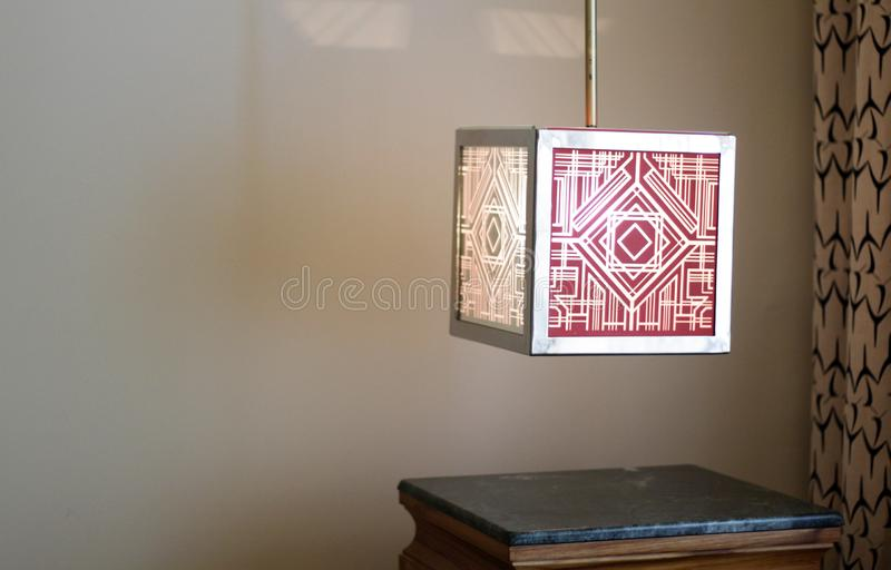 Lamp in a corner of hotel room stock photos