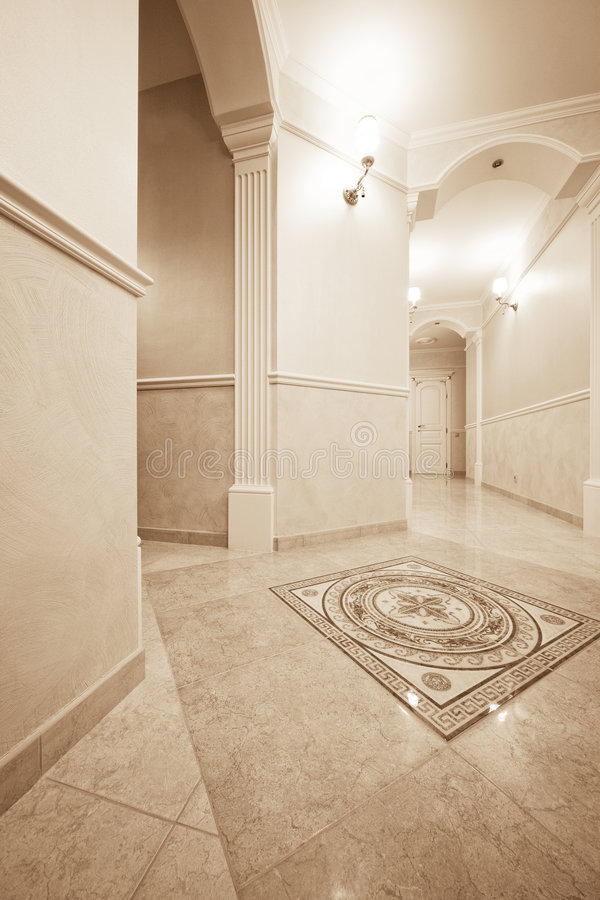 Beautiful corridor. With a door in a modern apartment royalty free stock photos