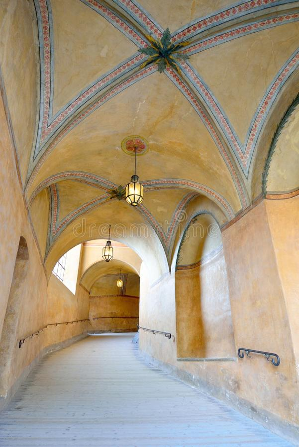 Beautiful corridor in Cesky Krumlov castle stock photos