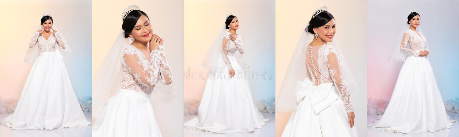 Beautiful cosmetic make up wear White wedding dress in difference poses royalty free stock image
