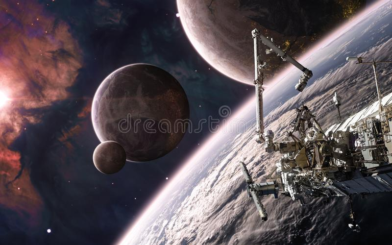 Beautiful cosmic landscape in warm starlight. Space station on background of colonized planets. Science fiction. Elements of this image furnished by NASA royalty free stock photos