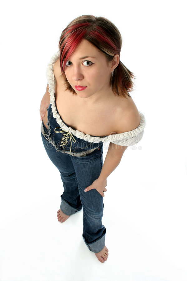 Beautiful Country Girl. Full body shot of a beautiful young girl wearing a blue jean and lace outfit. Shot with a Canon 20D stock photography