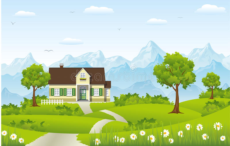 Beautiful country house. In the mountains vector illustration