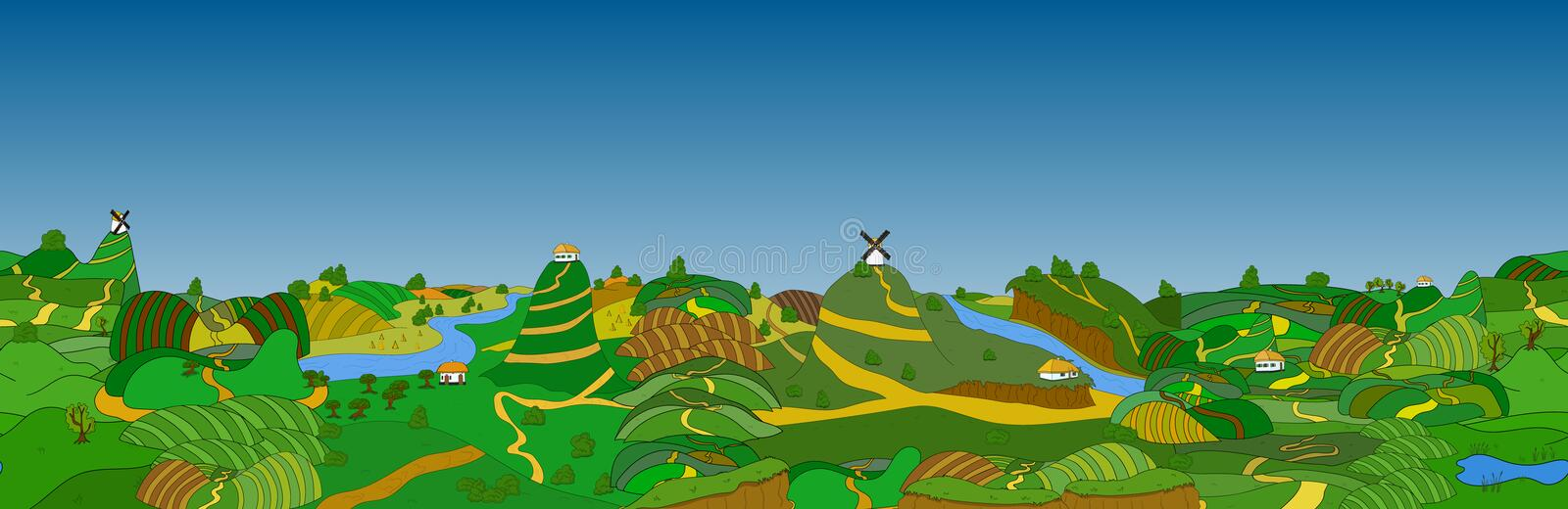 Beautiful country landscape. Vector illustration royalty free illustration