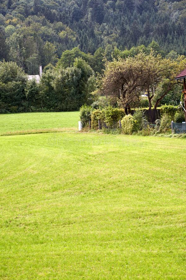 Beautiful country lawn in picturesque place. rustic landscape. Beautiful country lawn in picturesque place. rustic landscape royalty free stock photography
