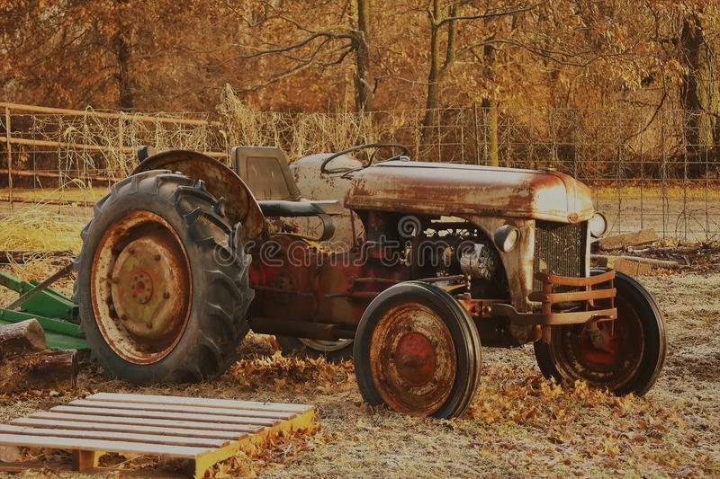 Beautiful fall tractor royalty free stock photos