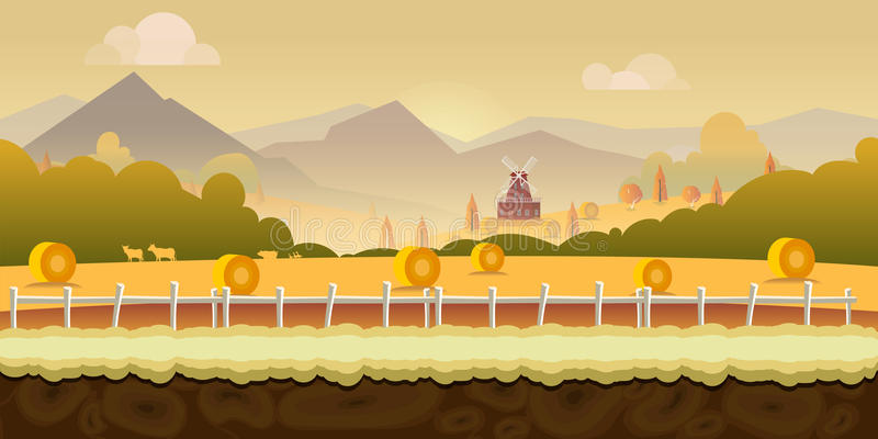 Beautiful countryside farm background for games with green mountains, farm house, and wooden fence with seamless. Background for games vector illustration