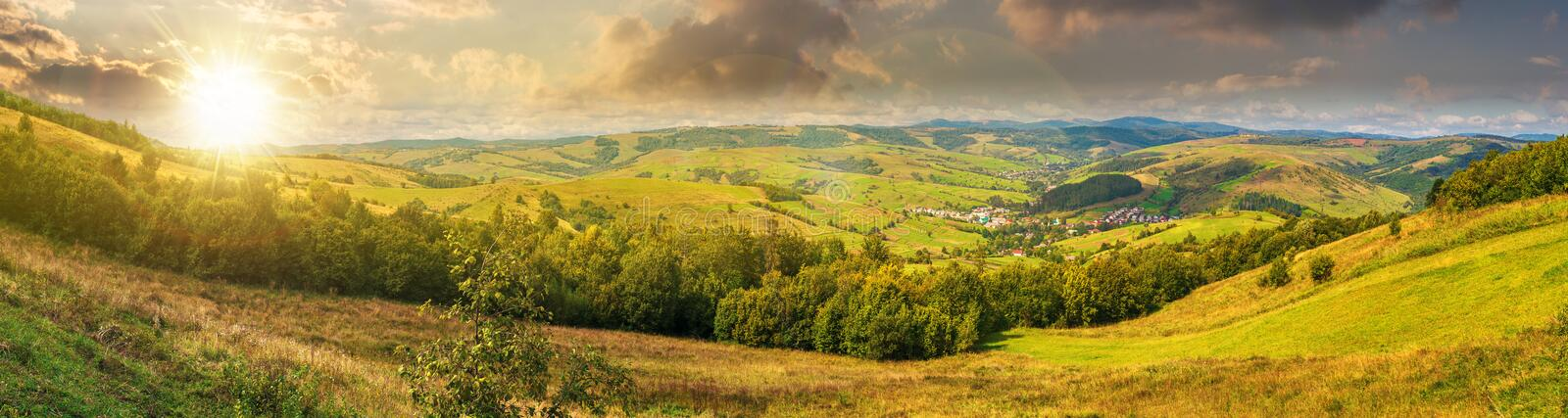 Beautiful countryside panorama at sunset royalty free stock image
