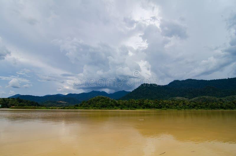 Beautiful countryside scenery, Sungai Perak river bank located in Perak State,Malaysia stock photo