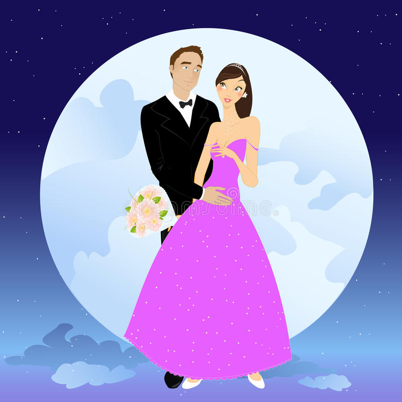 Beautiful couple. Vector illustration of beautiful couple in romantic night on the sky background with Giant full moon royalty free illustration