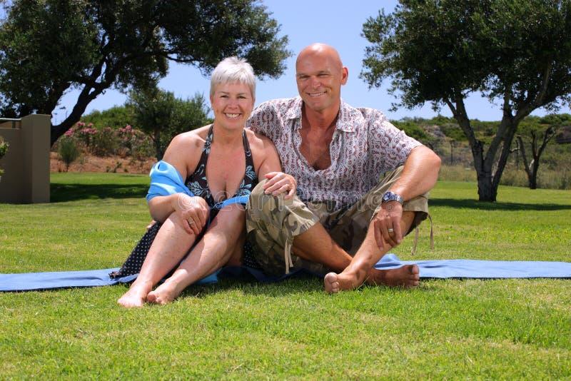 Beautiful couple. Beautiful mature couple relaxing outdoors stock photos