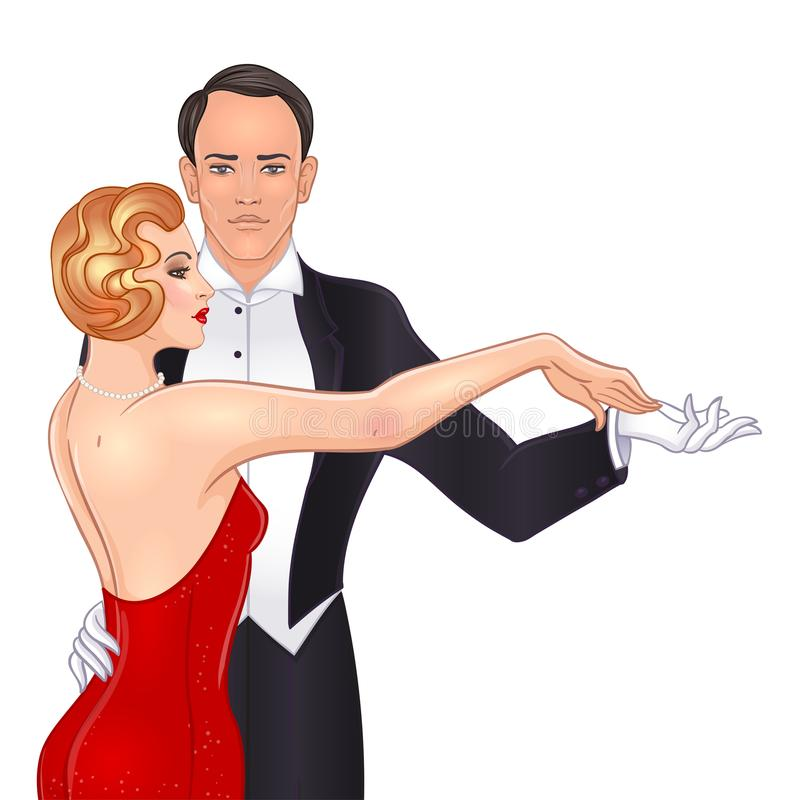 Beautiful couple in art deco style dancing tango. Retro fashion: glamour man and woman of twenties. Vector illustration. Flapper. 20's style. Vintage party or vector illustration