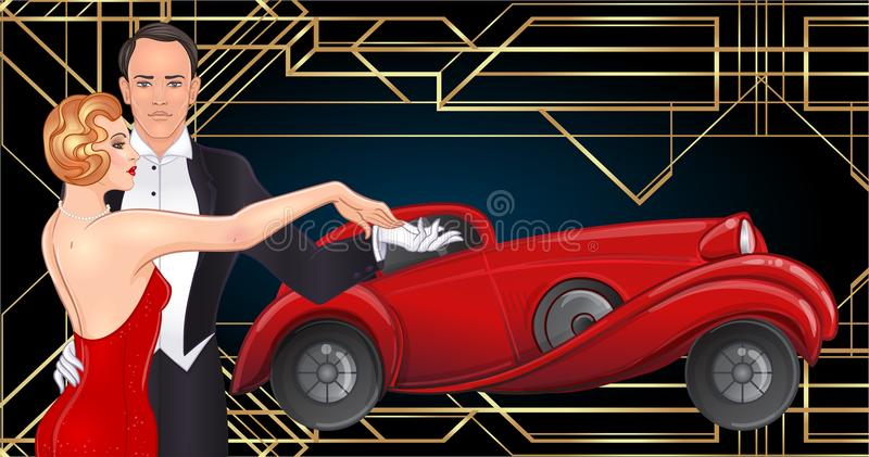 Beautiful couple in art deco style dancing tango. Retro fashion: glamour man and woman of twenties and red car. Vector royalty free illustration