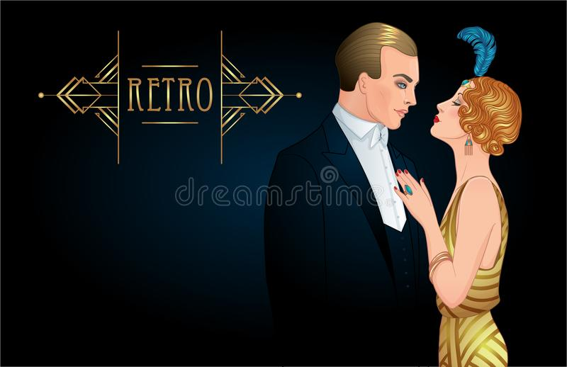 Beautiful couple in art deco style. Retro fashion: glamour man a vector illustration