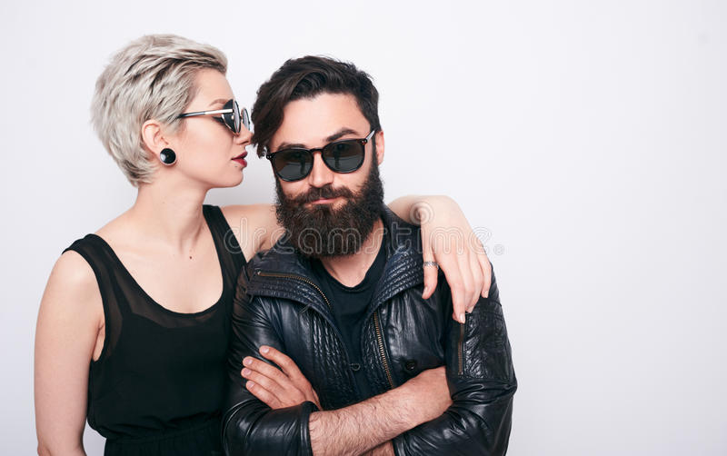 Beautiful couple of bearded man and blond young woman royalty free stock image