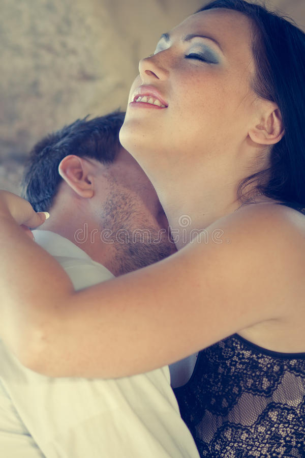 Beautiful Couple Being Intimate stock photography