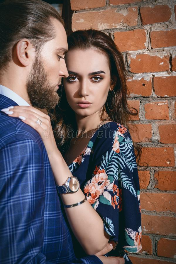 Beautiful couple in city stock image