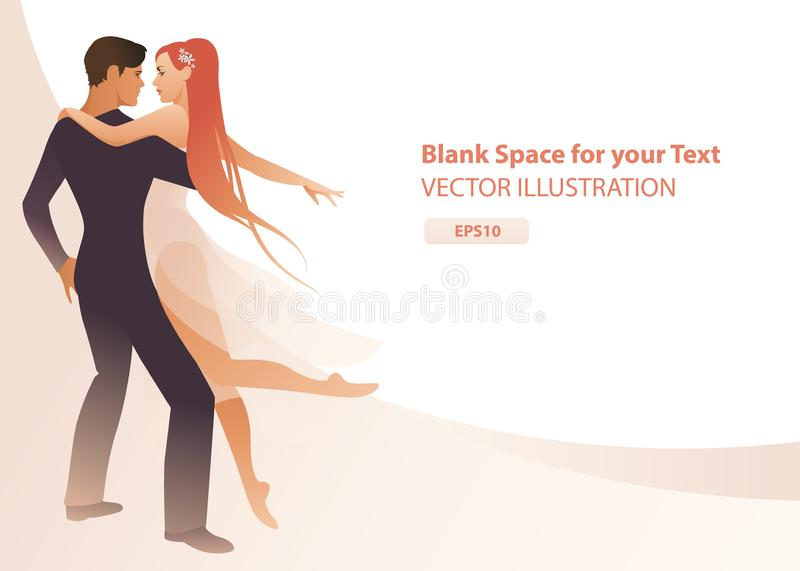 Beautiful couple of dancers holding each other. Girl with long hair and dancing clothes hugging her partner on abstract background royalty free illustration