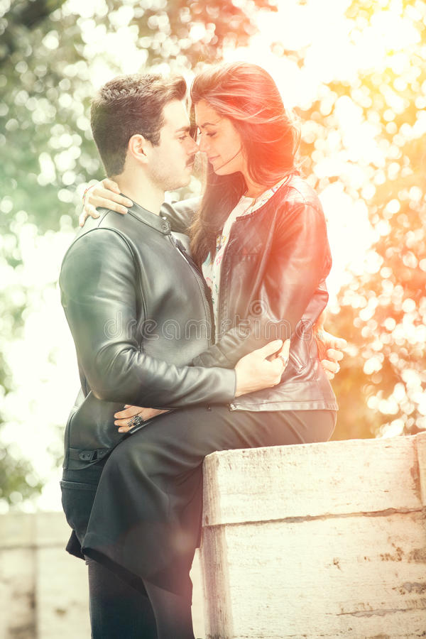 Beautiful couple embrace and love. Loving relationship and feeling. stock photography