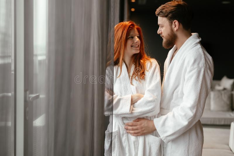 Beautiful couple enhoying wellness weekend stock images