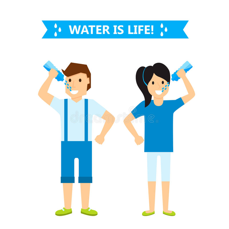 Beautiful couple girl and boy happiness childhood young cute person drink water woman and man vector illustration royalty free illustration