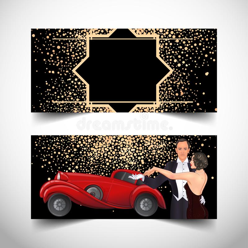 Free Beautiful Couple In Art Deco Style Dancing Tango. Retro Fashion: Glamour Man And Woman Of Twenties And Red Car. Vector Stock Photos - 157466663