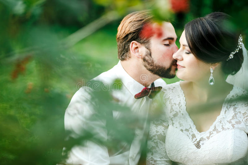 Beautiful couple kissing among spring foliage. Close up portrait of bride and groom at wedding day outdoor, lit by. Setting sunlight. Man with bow tie and stock photos