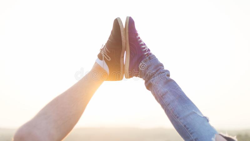 Beautiful couple in love standing outside royalty free stock photo