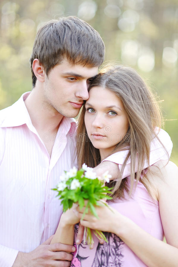 Beautiful Couple in love on summer stock photography