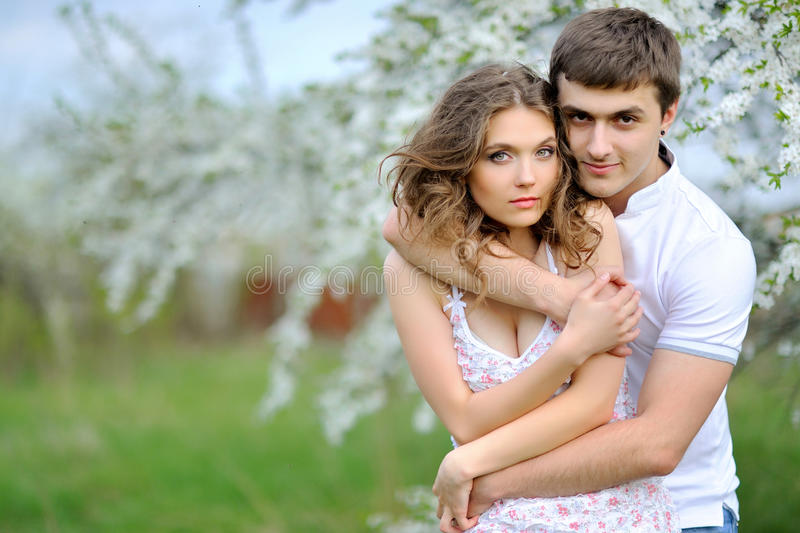 Beautiful Couple in love on summer stock image