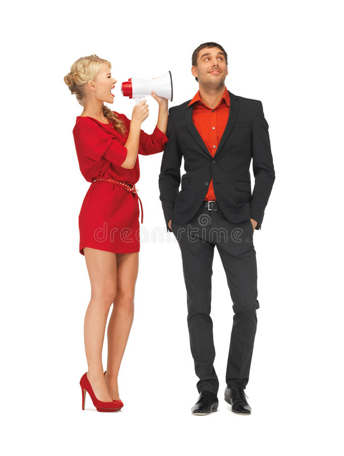 Download Beautiful Couple With Megaphone Stock Photo - Image of female, announcement: 27932462