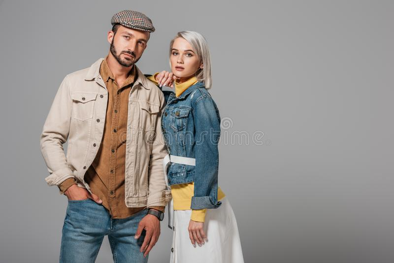 beautiful couple of models posing in autumn outfit royalty free stock photos
