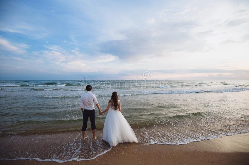 A beautiful couple of newlyweds, the bride and groom walking on the beach. Gorgeous sunset and sky. Wedding dresses, a. White luxury dress for a girl. Family stock photo