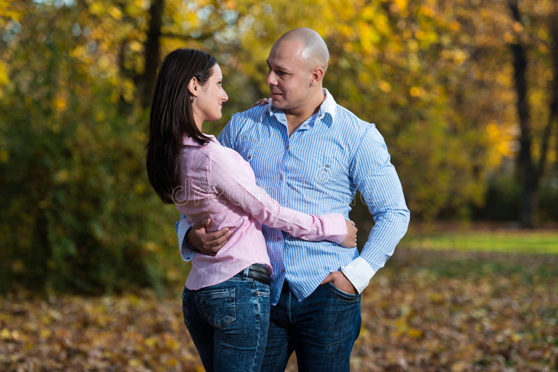 Beautiful Couple In The Park royalty free stock photo