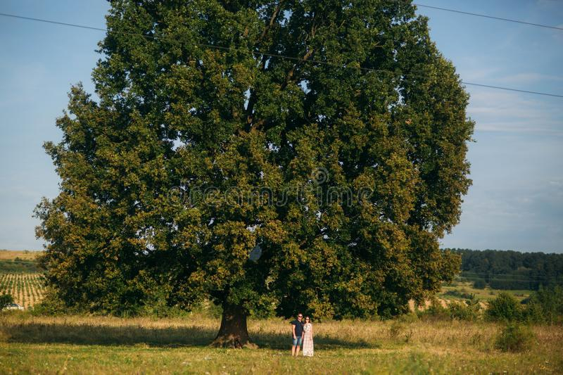 A beautiful couple is resting outside the city, sitting near a big tree in the garden. Love story.  stock photography