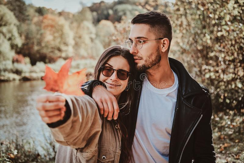 Portrait of two romantic young people royalty free stock photo