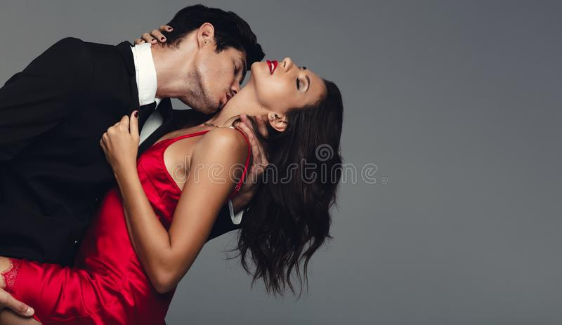 Beautiful couple in a sensual moment royalty free stock images
