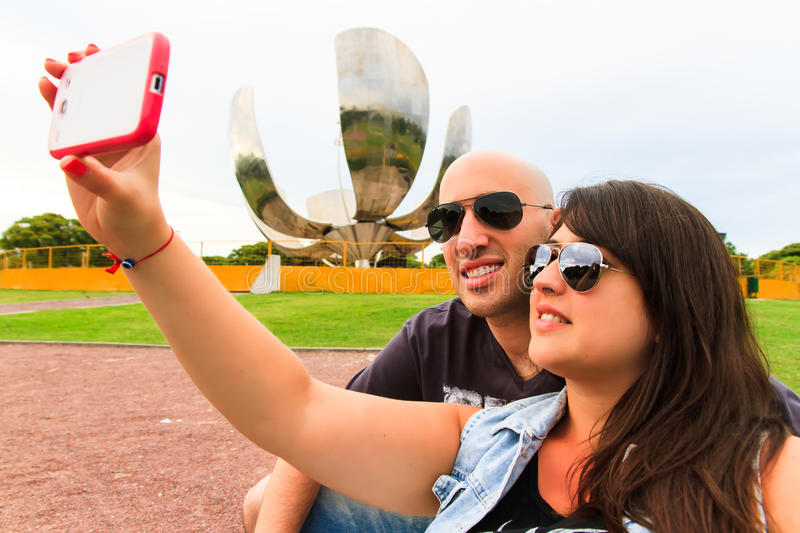 Beautiful Couple taking a selfie stock image