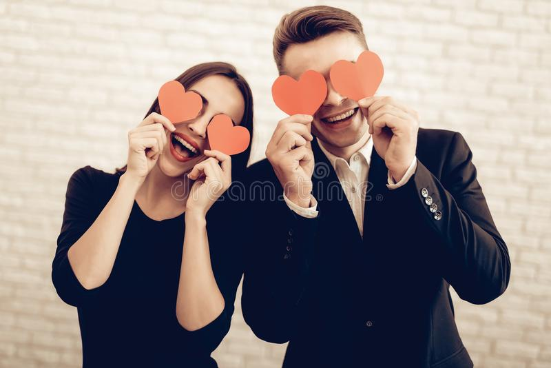 Beautiful Couple Together On Valentine`s Day. stock images