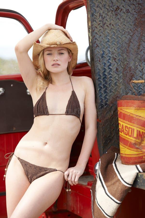 Free Beautiful Cowgirl In Bikini Stock Photography - 19260822